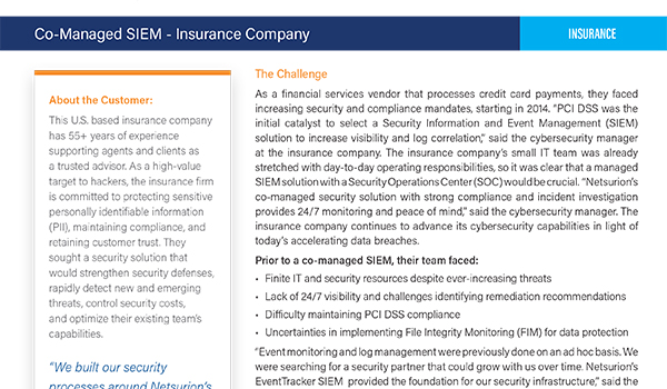 Co-Managed SIEM - Insurance Company